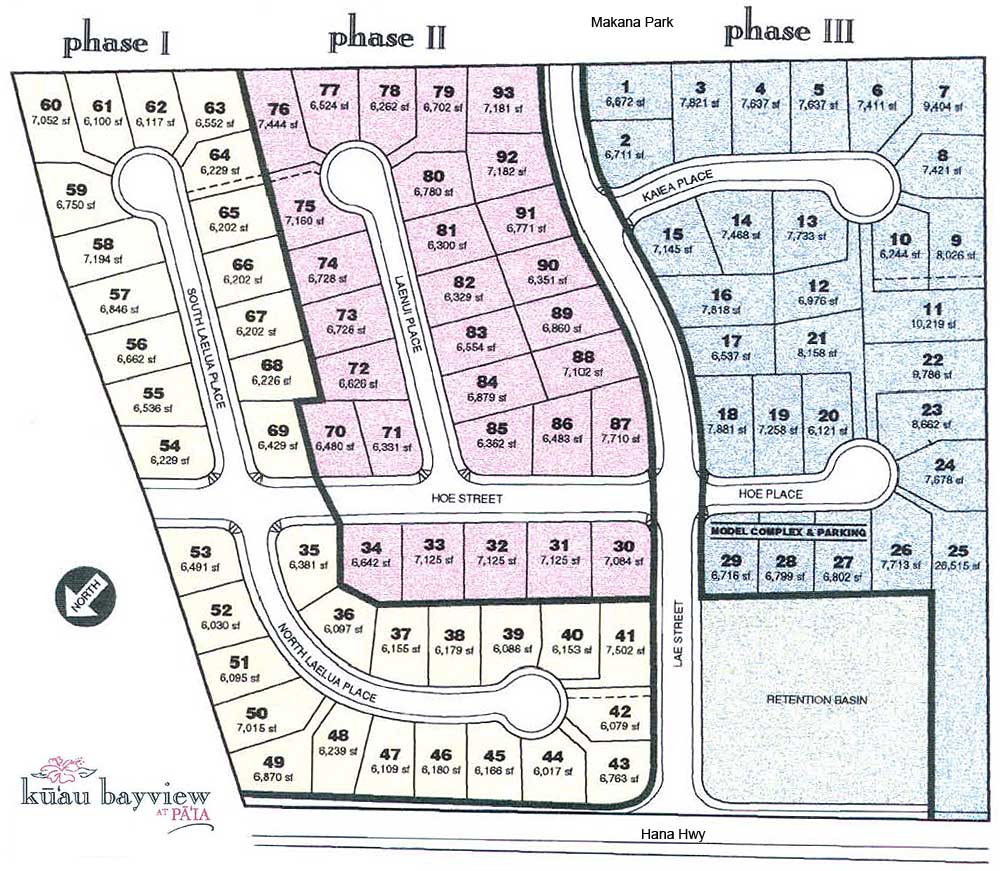 kuau bayview lot map. lot map of kuau bayview at paia maui